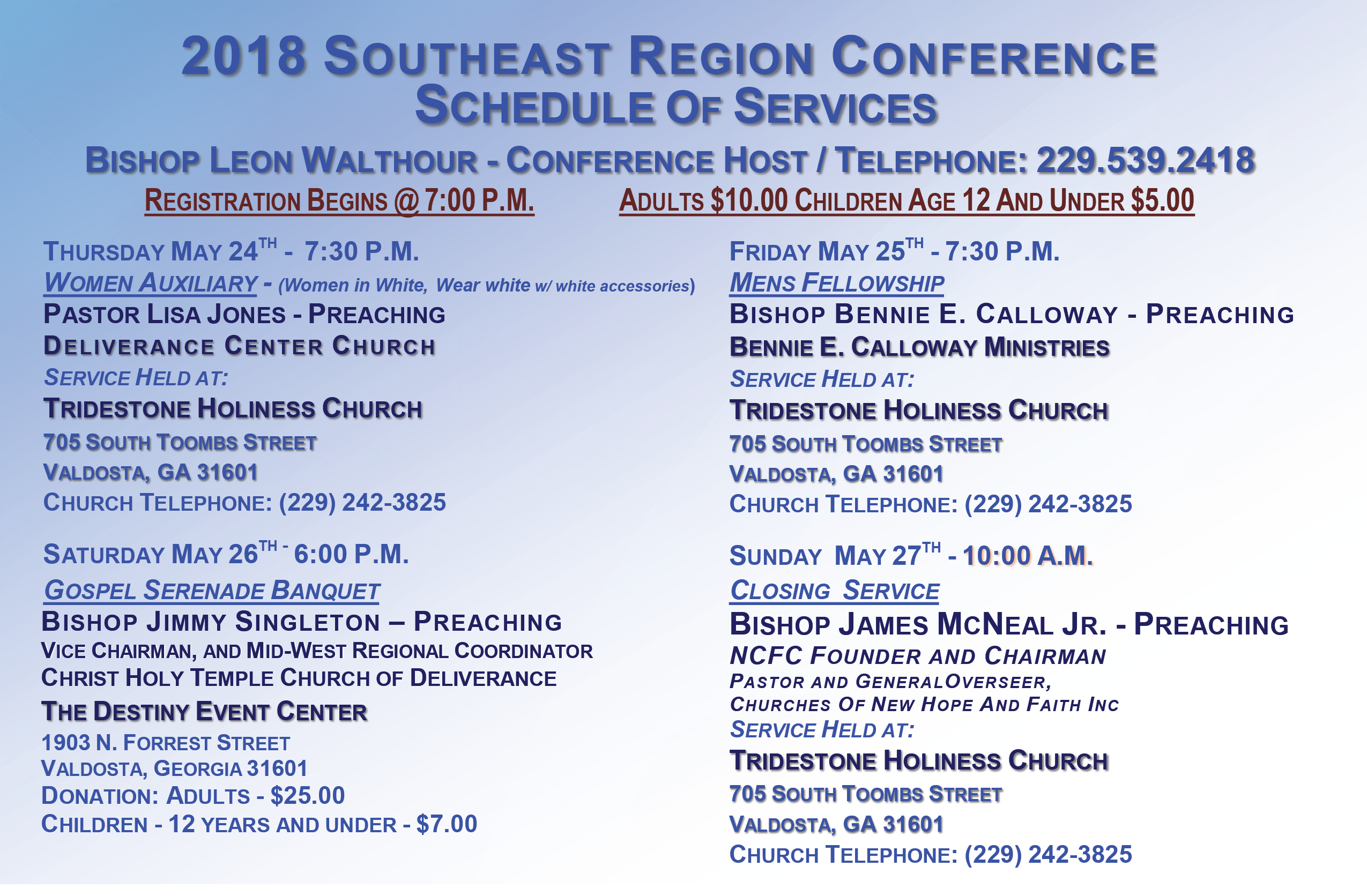 2018 Southeast Schedule Of Services